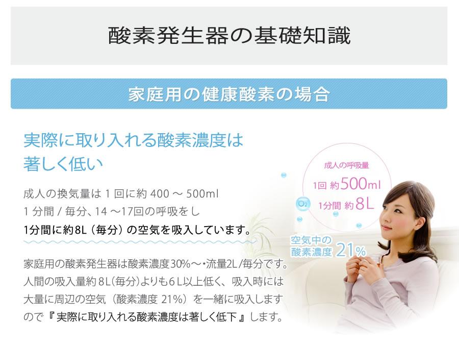 酸素発生器の基礎知識:家庭用の健康酸素の場合