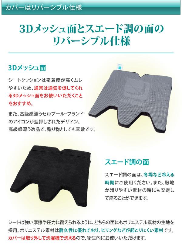 カバーは3Dメッシュ面とスエード調の面のリバーシブル仕様
