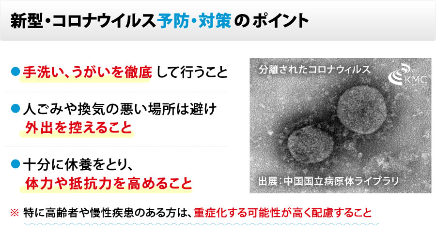 新型肺炎・コロナウイルス予防・対策 のポイント