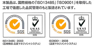 「ISO13485」「ISO9001」取得