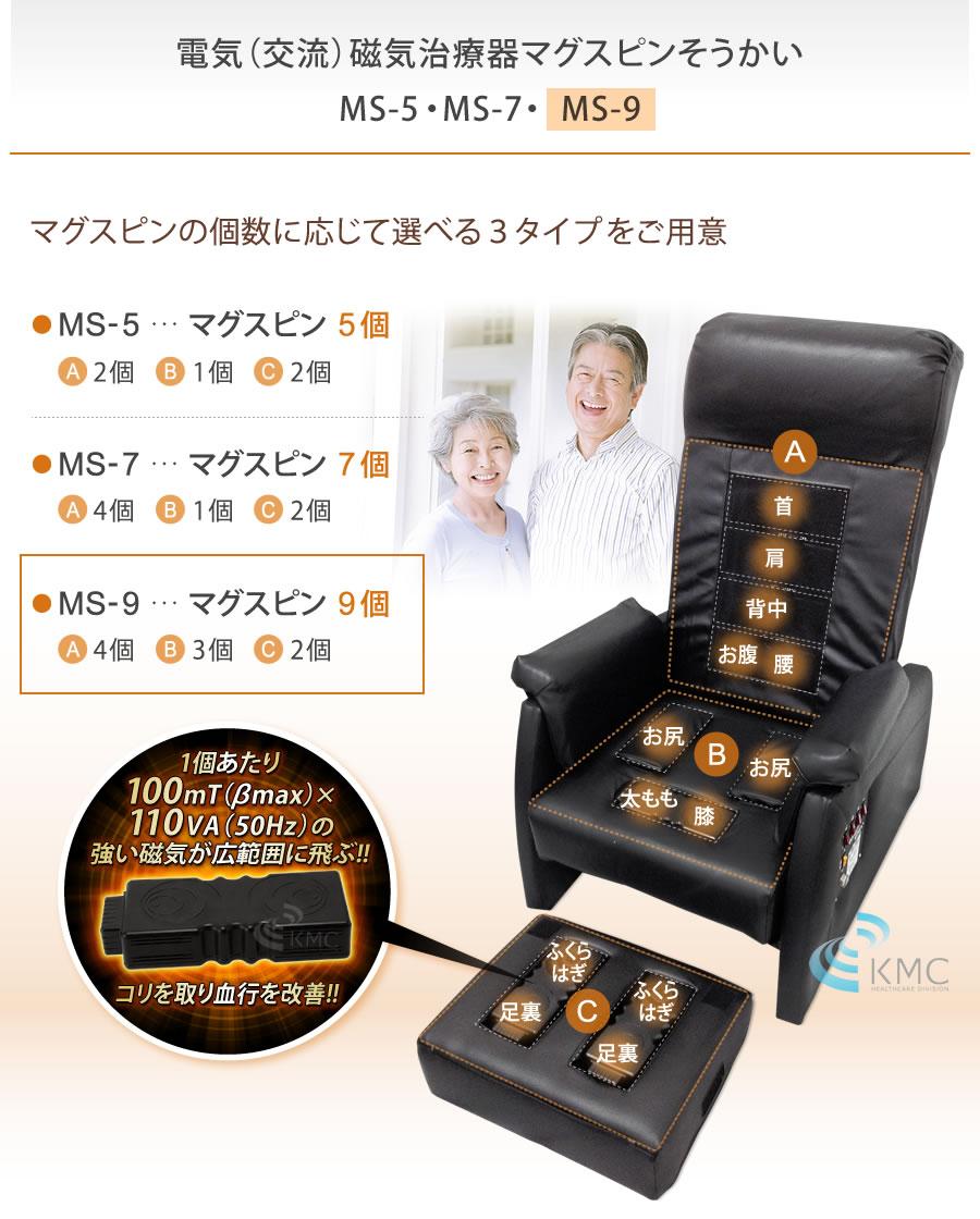 電気(交流)磁気治療器 マグスピンそうかいMS-9(チェア型)