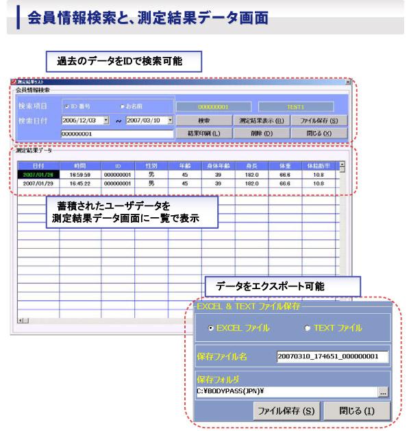 会員情報検索と、測定結果データ画面