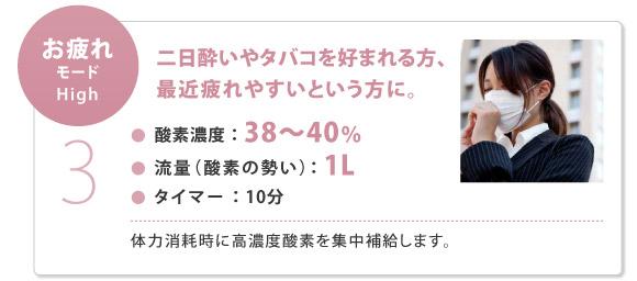 【お疲れモード】 酸素濃度:38〜40%