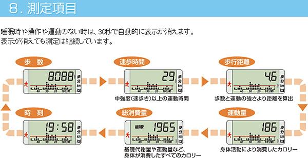 8. 測定項目 睡眠時や操作や運動のない時は、30秒で自動的に表示が消えます。            表示が消えても測定は継続しています。