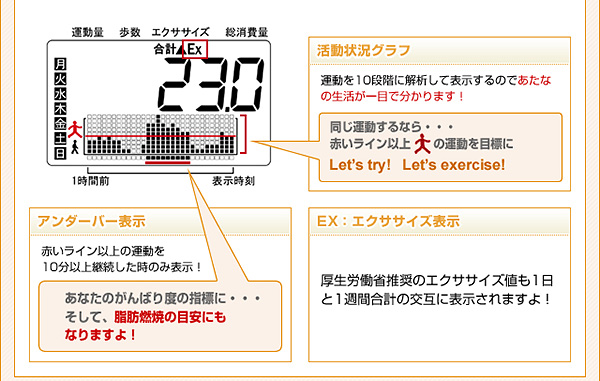画面詳細:活動状況グラフ・アンダーバー表示・エクササイズ表示