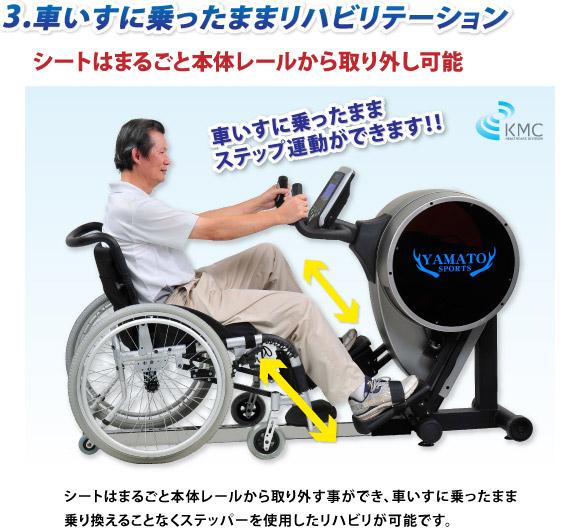 3.車いすに乗ったままステップ運動でリハビリテーション可能